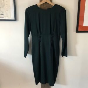 Dark Green Vintage Midi Dress with Back Buttons